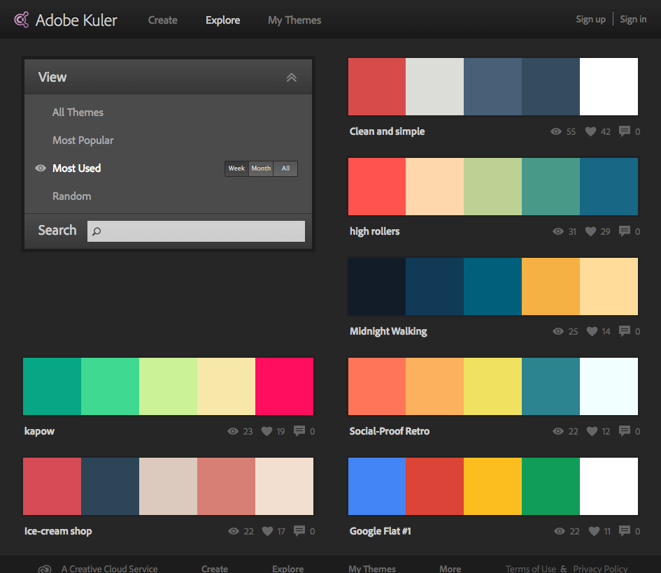 Free online tool from Adobe. Adobe does a good job. You can make your own color palette or explore the last color trends