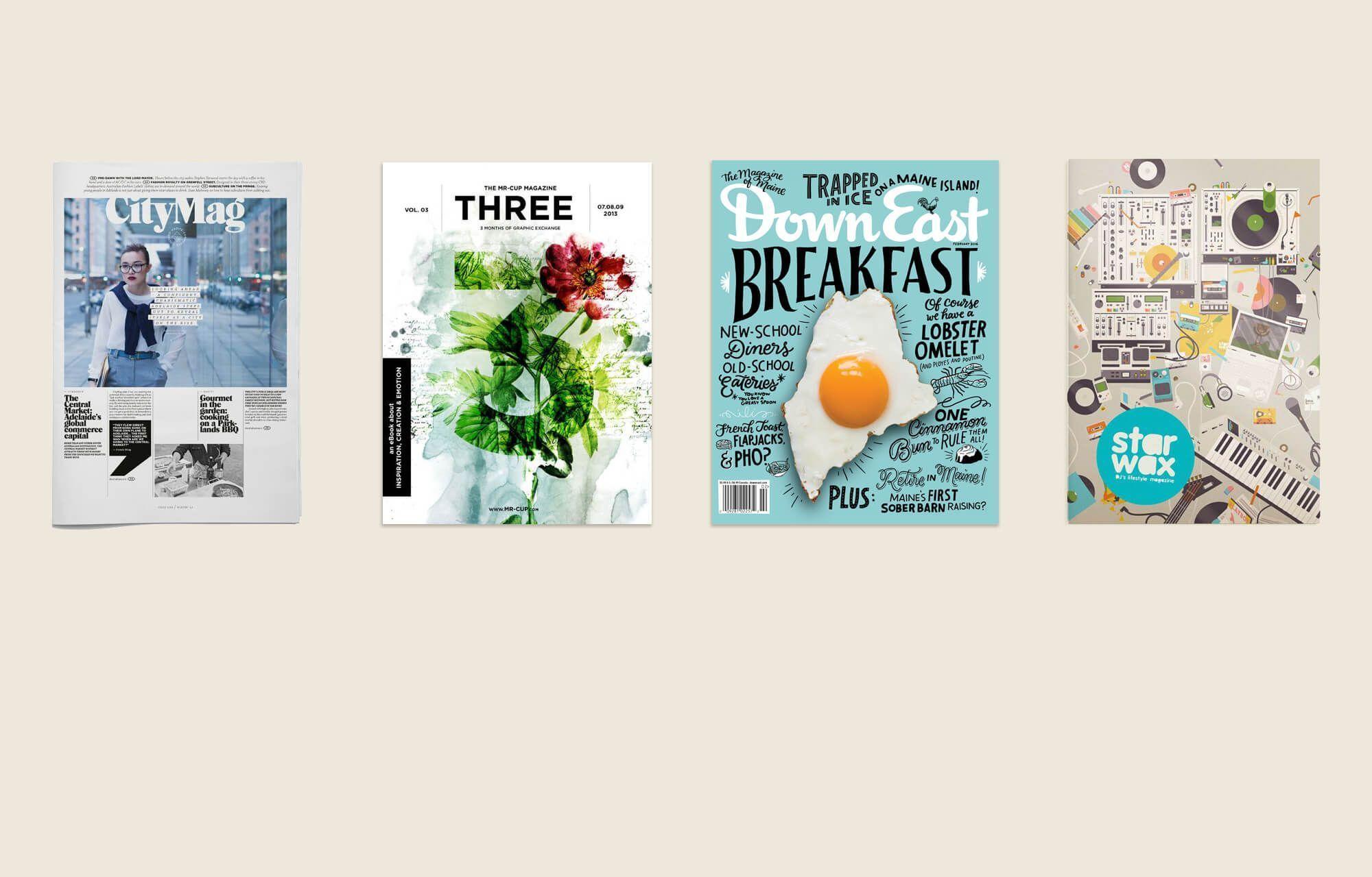 Inspirerende collectie van tijdschrift design lay-outs